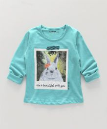 Doreme Full Sleeves Tee Rabbit Print - Blue