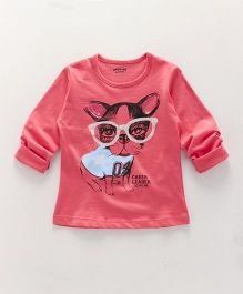 Doreme Full Sleeves Tee Puppy Print - Coral