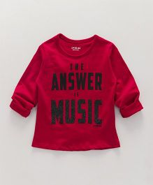 Doreme Full Sleeves Tee The Answer Is Music Text Print - Red