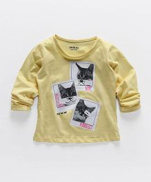 Doreme Full Sleeves Tee With Cat Design - Yellow