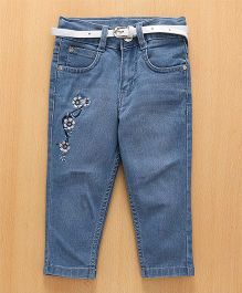 Babyhug Floral Embroidered Jeans With Adjustable Elastic Waist - Light Blue