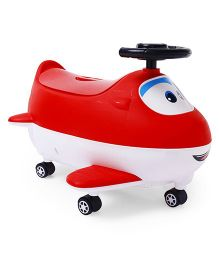 Baby Potty Chair With Wheels Aeroplane Shape - Red
