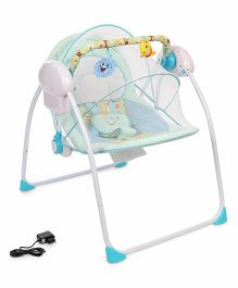 Primi Portable Swing With Full Mosquito Net & Charger - Green & Blue