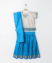 Babyhug Short Sleeves Pavadai Set With Dupatta - Cream Blue