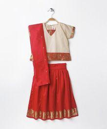 Babyhug Short Sleeves Pavadai Set With Dupatta - Cream Red