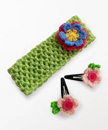 Dollops of Sunshine Hairband & Clips Set -  Green