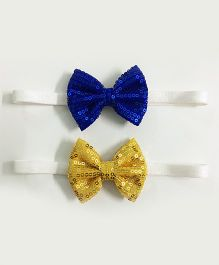Knotty Ribbons Set Of 2 Sequin Bow Headbands - Dark Blue & Yellow