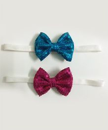 Knotty Ribbons Set Of 2 Sequin Bow Headbands - Blue & Pink
