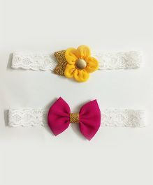 Knotty Ribbons Set Of 2 Glitter Flower & Bow Headbands - Yellow & Dark Pink