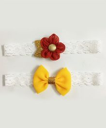 Knotty Ribbons Set Of 2 Glitter Flower & Bow Headbands - Red & Yellow