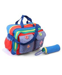 Diaper Bag Flower And Butterfly Patch - Red & Blue