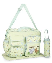 Diaper Bag With Changing Mat And Bottle Warmer Elephant Patch - Green