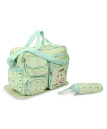 Diaper Bag With Changing Mat And Bottle Warmer Kitty Patch - Green