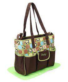 Diaper Bag With Changing Mat Monkey Print Set of 2  - Green & Brown