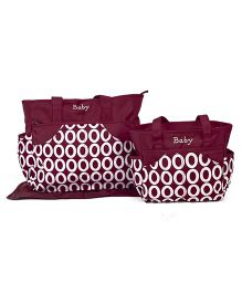 Diaper Bag Set With Changing Mat Circle Print Pack Of 2 - Maroon