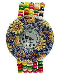 Angel Glitter Beaded Watch Floral Dial - Navy Yellow