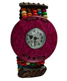 Angel Glitter Wrist Watch With A Beaded Strap & Designer Dial - Pink