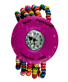 Angel Glitter Wrist Watch With A Beaded Strap & Designer Dial - Multicolor
