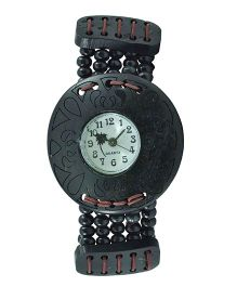 Angel Glitter Wrist Watch With A Beaded Strap & Designer Dial - Black