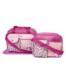 Diaper Bag Set With Changing Mat Flower Print Pack Of 2 - Pink