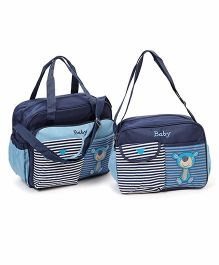 Diaper Bag Set With Changing Stripe Flower Print Pack Of 2 - Blue