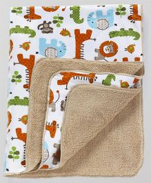 Babyhug Sherin & Poly Wool Blanket Animal Print - White Beige