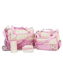 Diaper Bag Set Polka Dots Pink - 5 Pieces