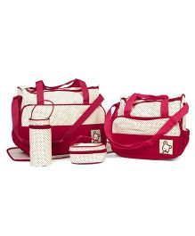 Diaper Bag Set Polka Dots Dark Red - 5 Pieces