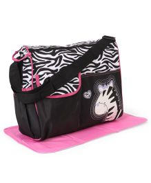 Diaper Bag With Changing Mat Zebra Patch - Purple