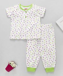 Babyhug Half Sleeves Night Suit Floral Print - White