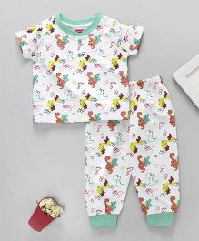Babyhug Half Sleeves Night Suit Dinosaur Print - White