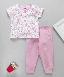 Babyhug Half Sleeves Night Suit Bird Print - Pink White