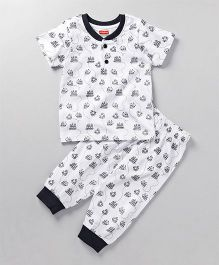 Babyhug Half Sleeves Night Suit Allover Boat Print - White