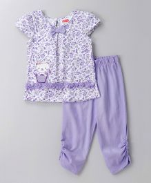 Babyhug Short Sleeves Top & Legging Set Floral Print - Purple