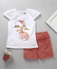Babyhug Cap Sleeves Top And Shorts Dino Print - White Peach