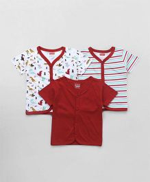Babyhug Half Sleeves Vest Pack of 3 Solid & Printed - Maroon & White