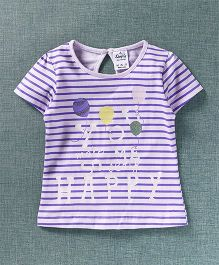 Simply Half Sleeves Stripe Top Text Print - White Purple