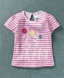 Simply Half Sleeves Stripe Top Text Print - White Pink
