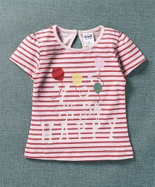 Simply Half Sleeves Stripe Top Text Print - White Red