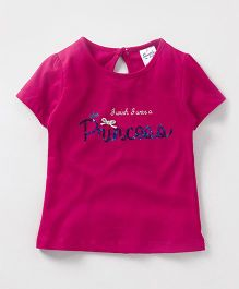 Simply Half Sleeves Top Princess Sequined - Fuchsia
