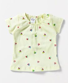 Simply Short Sleeves Top Heart Print - Light Yellow