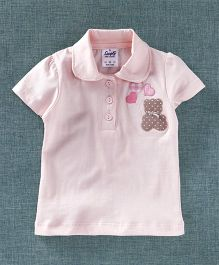 Simply Half Sleeves T-Shirt Bear Patch - Light Pink