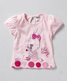 Simply Short Sleeves Top Bow Applique - Pink