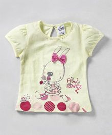 Simply Short Sleeves Top Bow Applique - Yellow