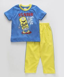 Taeko Half Sleeves T-Shirt And Pajama Skater Print - Blue Yellow
