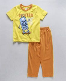 Taeko Half Sleeves T-Shirt And Pajama Skater Print - Yellow Orange
