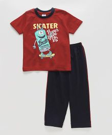 Taeko Half Sleeves T-Shirt And Pajama Skater Print - Red Black