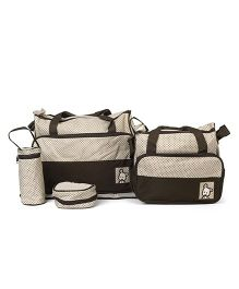 Diaper Bag Set Dot Print Brown - 5 Pieces