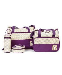 Diaper Bag Set Dot Print Purple - 5 Pieces