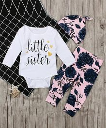 Pre Order - Awabox Lil Sister Print Onesie & Pants With Cap - White
